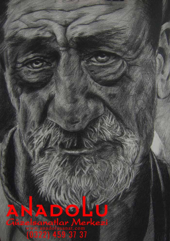 Karakalem Yaşlı Yüzü Çizimleri Adana